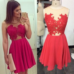 Wholesale Dress See Trough - Cheap Short Homecoming Dresses 2017 A Line See Trough Scoop Mini Prom Dresses Party Gowns Custom Made