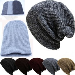 Wholesale Mens Cotton Beanies Hats - Mens Winter Casual Cotton Knit Hats For Women Men Beanie Hat Warm Crochet Slouchy Oversized Ski Cap free shipping