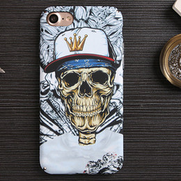 Wholesale Skull Cell Case - 3D Painting Cell Phone Case For iPhone 6 6s 7 Plus Skull Night Glow Hard Back Phone Case 6 7 Plus