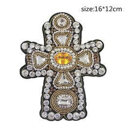 Wholesale Embroidery Garment - Beaded Crystal Rhinestone Cross Patches Embroidery Patch Applique Stick Water Cross Emblem Diy Garment Accessories Crucifix Patch