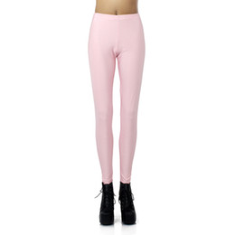 Wholesale Light Pink Leggings Girls - Wholesale- New Arrival 1373 Sexy Girl leggins Light Pink Rose solid colour Printed Polyester Elastic Fitness Workout Women Leggings Pants