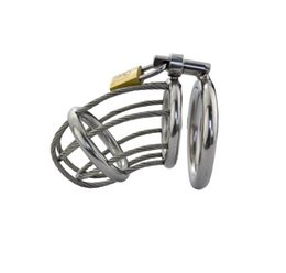 Wholesale chastity belt wire - Doctor Mona Lisa - Hot Selling Male Fine Stainless Steel Standard Size Chastity Cage Device Wire Rope Middle Metal Kit Bondage SM Toys