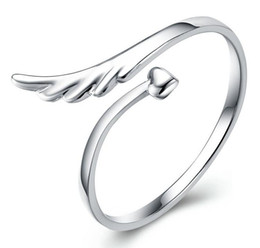Wholesale Wood Hearts Wholesale - Love Heart Rings Lovers ring Couples rings Finger Rings Bague Adjustable Size Silver Plated Ring Fashion Exquisite Angel Wing Ring Jewelry