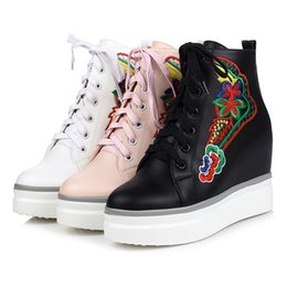 Wholesale Breathable Work Shoes For Woman - Fashion Women's Shoes Elevator Shoes For Women Black White pink Wedge Heels Breathable Lace UP Height Increasing Shoes