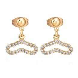 Wholesale Vintage Yellow Rhinestone Earrings - Fashion Elegant Heart Stud Earrings 18K Yellow Gold Plated AAA Cubic Zirconia Korean Earrings For Women Jewelry Vintage Oorbelle