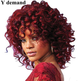 Wholesale Bangs Lace Wig Red - Rihanna Short BOB Wine Red Deep Wave Synthetic Wigs For Black Women Heat Resistant None Lace Hairstyle With Bang In Stock