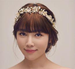 Wholesale Bridal Fashion Headpiece - New Prom Wedding Bridal Bridesmaid Gold Fashion Crystal Pearl Ribbon Hairband Headband Hair Accessories Headpiece Fascinators Tiara Handmade