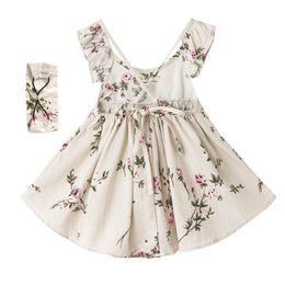 Wholesale Linen Summer Sundresses - Retail Summer Girl Dress Peach blossom Backless Flare Sleeve Cotton Linen Holiday Sundress+Headband Children Clothing 1-7Y H1714