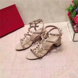 Wholesale chunky heel slingback shoes - 5 Colors Newest 2018 luxury brand design Leather Women Stud Sandals Slingback Pumps Ladies Sexy High Heels 5.5cm shoes s003