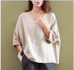 Wholesale Short Sleeve Plaid Shirts Women - Women's T-Shirt Johnature Spring New Women T-Shirts Original Half Sleeve Cotton Linen O-Neck Loose Casual High Quality Summer Top