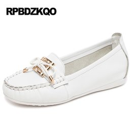 Wholesale Korean Elevator Shoes - Maternity Large Size Chinese Metal Nurse Elevator Moccasins Korean White Bow Women Flats Shoes With Little Cute Bowtie Loafers 9