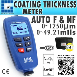Wholesale Digital Paint Coating Thickness - DT-156 Digital CEM Paint Coating Thickness Meter Gauge 1250um (49.2mils) with USB & CD Software, F  NF Probe Sensor, 400 Memory