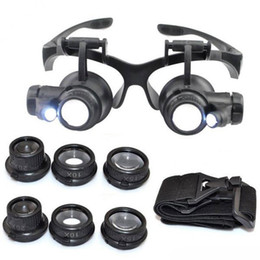 Wholesale Double Magnifying Glass - Hot 10X 15X 20X 25X magnifying Glass Double LED Lights Eye Glasses Lens Magnifier Loupe Jeweler Watch Repair Tools