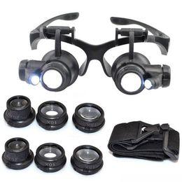 óculos de óculos iluminados ampliados Desconto Hot 10X 15X 20X 25X ampliação de Vidro Duplo LED Luzes Eye Lens Lupa Lupa Lidar Com Relógio Ferramentas de Reparo