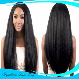 Wholesale Natural Fiber Baby - Yaki Glueless Lace Front Wigs Synthetic for Black Women Natural Black Heat Resistant Janpanese Fiber African American Wig with Baby Hair 16i
