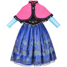 Wholesale Evening Dresses Full Skirt - Princess Dress with Shawl Yarn Skirt Long Sleeve Kids Dresses Party Princess Dress Evening dress for Girls 3-8T
