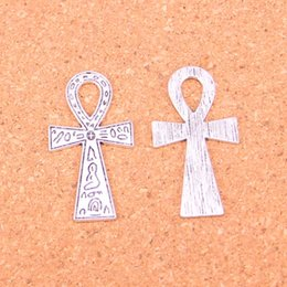 Wholesale Antique Egyptian Jewelry - Wholesale 40pcs Fashion Antique silver egyptian ankh life symbol charms metal pendants for diy jewelry findings 39*21mm