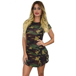 Wholesale Camouflage Cheap Clothes - Wholesale- 2016 New fashion Summer camouflage print short sleeve o-neck women dress sexy ladies empire mini dresses cheap clothes vestidos
