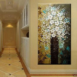 Wholesale Modern Floral Art Paintings - Tree and Flowers,High Quality HandPainted Modern Wall Decoration Abstract Art Oil Painting On Canvas.Multi sizes  frame Options Op wuzh