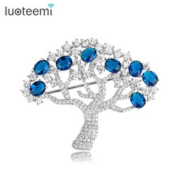 Wholesale Apple Brooches - Luxury Apple Tree Brooch Pin for Women Bridal Wedding Brooch Accessories Jewelry Full Cubic Zirconia Prong Setting LUOTEEMI
