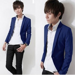 Wholesale Pointed Blazer - Wholesale- 2015 New spring brand men slim fit blazer pointed collar fashion bright multicolor small suit men dress party suit jacket