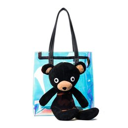 Wholesale Transparent Shopping Bags - Fashion Women Cartoon Bear Jelly Transparent Handbag Tote Shoulder Bags Popular Beach Bag Laser Colorful Leisure Shopping Bag