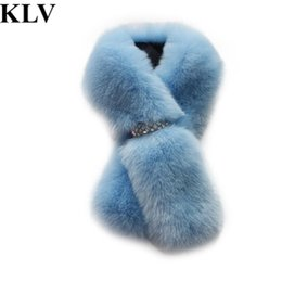 Wholesale Muffler Scarf For Men - Wholesale- Autumn And Winter Women's Fur Faux Scarf For Women Raccoon Fur Cap Collar Muffler Scarf Cape Thicken Warm Fur Neck Ring Nov1