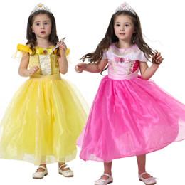 Wholesale Baby Sleeping Beauty - Baby Girls Dress Children Sleeping Beauty Belle Princess Rapunzel Aurora Dresses Kids Party Costume Halloween Cosplay Clothing