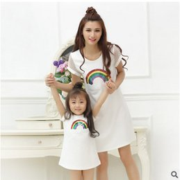 Wholesale Wholesale Mother Daughter - Mother and daughter clothes Girls colours rainbow sequins princess dress womans hollow out dress 2017 summer family clothings T0718