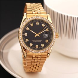 Wholesale Ladies High Tops - Top high quality 38 mm lady wrist watch new Ladies model fashion design luxury brand black face diamond watches womens rose metal stainless