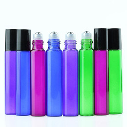 Wholesale Cheapest Stainless Steel Bottles - Newest Cheapest 10ml Colorful Glass Roller Bottles in Market !!! Purple Green Red Blue 10ml Stainless Steel Ball Perfume Bottles Free DHL