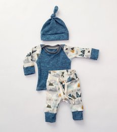 Wholesale Toddler Cotton Spring Hats - 2017 baby spring clothes sets infant toddler boy girl long sleeve mountain printed T-shirt+ pp pants+hat 3Piece baby ins clothing wholesale