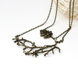 Wholesale Leaf Necklace Bronze - Doreen Box Handmade autumn Vintage Leaf Branch Necklace long woman antique bronze chain charm necklace Jewelry Christmas gift