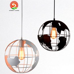 Wholesale Vintage Bedroom Decorations - Creative Globe Indoor Vintage Pendant Lighting white black Iron Cage Lampshade E27 lampbase Retro decoration pendant lights