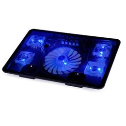 Wholesale Base Cool Laptops - Wholesale- 2016 5 Fan Dual USB Laptop Cooler Cooling Pad Base LED Notebook Cooler Computer USB Fan Stand For Laptop Computer