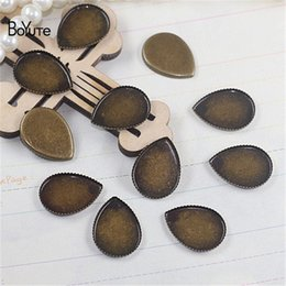 bronze base Australia - BoYuTe 100Pcs Water Drop Cabochon Base Antique Bronze Plated Vintage Diy Jewelry Accessories Blank Tray Base