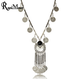 Wholesale Tibetan Coin Jewelry - Boho Antique Coin Necklaces for Women African Statement Tibetan Long Tassel Necklaces & Pendants Bohemian Maxi Jewelry 2017