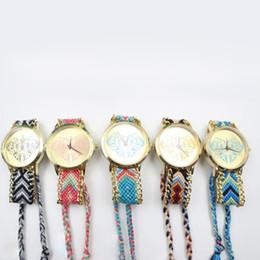 Wholesale Heart Shaped Watches For Women - 2015 New Fashion women bracelets watch love heart wool handwork weave chain rope quartz watches dress wristwatch for women ladies wholesale