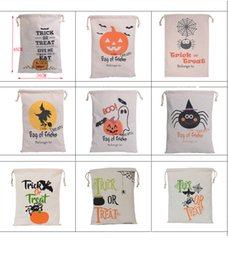 Wholesale halloween party treats - Halloween Candy Gift Sack Treat or Trick Pumpkin Printed Bat Canvas Bag Children Party Festival Drawstring Bag