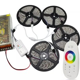 Wholesale Rgb Rf Remote - DC 12V RGB Kit 15m 20m 5050 Led Strips Lights Waterproof + 2.4G RF Remote Control + Power Supply Plug
