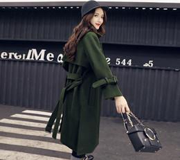 Wholesale Cheap Woolen Winter Coats - Womens trench coats long wool army green winter jacket women turtle neck blends outwear coat cute vintage cheap spring ladies warm jackets