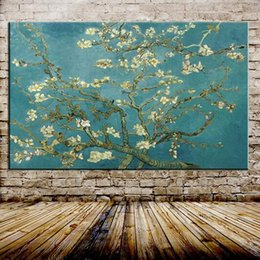 Wholesale Tree Life Paintings - Free Shipping Blossoming Almond Tree Oil Painting Oil Painting On Canvas Wall Art Picture For Home Decoration