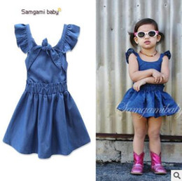 Wholesale Bow Tie Styles For Girls - Baby Dress 2017 Summer Backless Denim Dress for Girls Cute Cotton Bow Tie Flying Sleeve Dresses Ins Clothes Toddler Infant Clothes