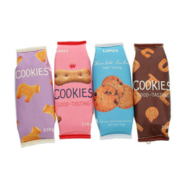 Wholesale Case Biscuit - Wholesale-Snacks Biscuits Cracker Cartoon Pencil Case Cute PU Leather Pen Bag Purse Holder Pouch Stationery Office School Supplies Gift
