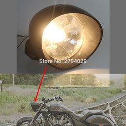 "Wholesale Yamaha Bobber - Free Shipping 7"" Black Hi Lo 35W Bullet halogen Headlight Front Lamp for Harley Chopper Bobber Cafe Racer custom"