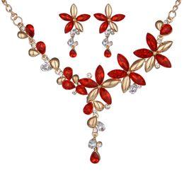 Wholesale Crystal Floral Necklace Set - New design Leaf Flower Necklace Earrings Set for women wedding bridals Austrian Crystal floral jewelry set wholesale