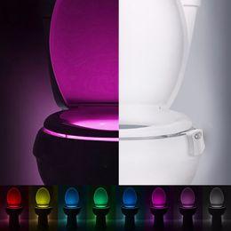 Wholesale Toilet Bowls - Human Motion Sensor Automatic Toilet Seat LED Night Lights Lamp Bowl Bathroom Night Light 8 Color Lamp Veilleuse