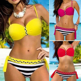 Wholesale Bikini Push Up Tanga - P&j Sexy Brazilian Push Up Biquini Swimwear Female Stripe Tanga Bikinis Plus Size Bikini set Halter Swimsuit Beach Bathing Suit