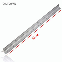 """Wholesale Rulers For School - Xltown New 30cm Aluminium Metal Triangle Scale Ruler Architect Engineers Technical Rule 12"""" for Office School Supplies Tools"""