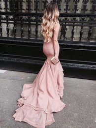 Wholesale Plus Size Bodycon Satin Dresses - Stylish Blush Pink Mermaid Evening Dresses Strapless Satin Bodycon Long Train Prom Gown Fitted Robe de Soiree 2017